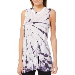 Brisas Womens Tie Dye Twist Front Tank Top