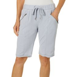 Brisas Womens Solid Drawstring Bermuda Shorts
