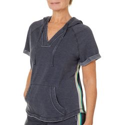 Brisas Womens Mineral Wash Side Stripe Hooded Top