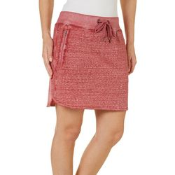 Brisas Womens Super Washed Ribbed Waist Skort