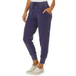 Brisas Womens Solid Mineral Wash Banded Jogger Pants
