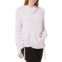Brisas Womens Solid Lace Up Side Panel Hooded Top