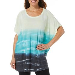 Brisas Womens Ombre Tye Dye Batwing Top