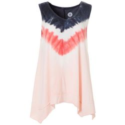 Brisas Womens Tie Dye V-Neck Sharkbite Hem Top