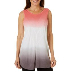 Brisas Womens Ombre Print Round Neck Sleeveless Top