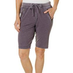 Brisas Womens Mineral Wash Zippered Pocket Bermuda Shorts
