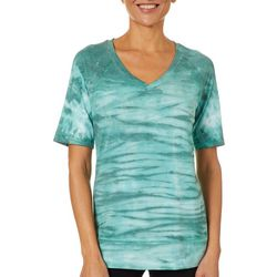 Brisas Womens V-Neck Tie Dye Short Sleeve Top
