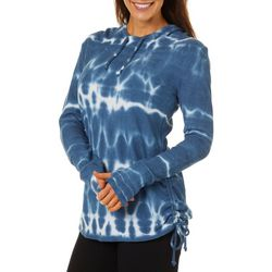 Brisas Womens Waffle Knit Tie Dye Long Sleeve Hooded Top