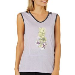 Brisas Womens Tropical Pineapple Screen Print Tank Top