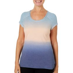 Brisas Womens Ombre Dye Split Hem Top