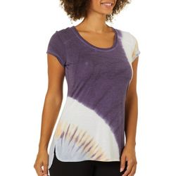 Brisas Womens Tie Dye Split Hem Short Sleeve Top