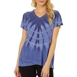 Brisas Womens Tie Dye Asymetrical Hem Short Sleeve Top