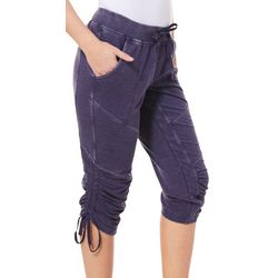 Brisas Womens Mineral Wash Ruched Tie Side Capris