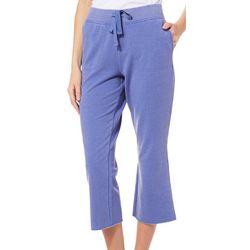Brisas Womens Heathered Drawstring Crop Pants