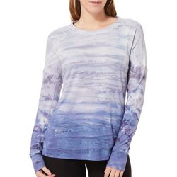Brisas Womens Ombre Waffle Knit Long Sleeve Top