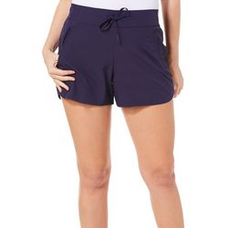 Brisas Womens Solid Knit Drawstring Shorts