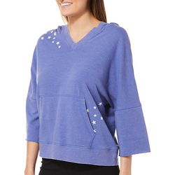 Brisas Womens Heathered Star Graphic Hooded Top