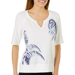 Brisas Womens Palm Tree Screen Print Knit Top