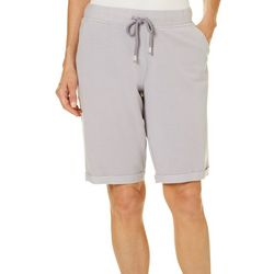 Brisas Womens Roll Cuff Terry Bermuda Shorts