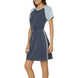 Brisas Womens Colorblock Knit Tie Waist Dress