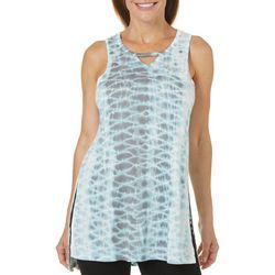 Brisas Womens Tie Dye Keyhole Neck Tank Top