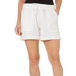 Brisas Womens Solid Roll Cuffed Shorts