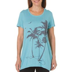 Brisas Womens Palm Tree Graphic X-Back Top