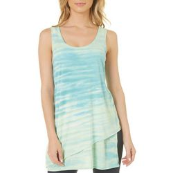 Brisas Womens Tie Dye Asymetrical Hem Tank Top