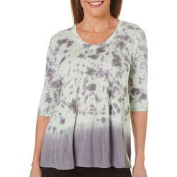 Brisas Womens Drapey Tie Dye Print Top