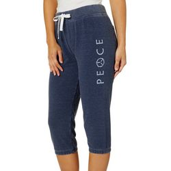 Brisas Womens Heathered Peace Graphic Knit Capris