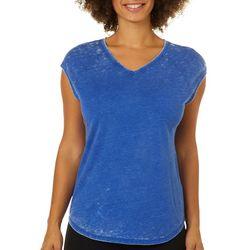 Brisas Womens Mineral Wash Cap Sleeve Top