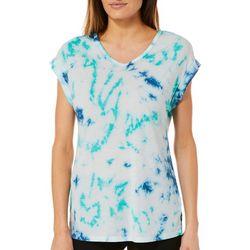 Brisas Womens Tie Dye Cap Sleeve V-Neck Top
