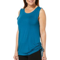 Brisas Womens Solid Ruched Side Tank Top