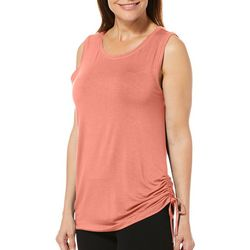 Brisas Womens Solid Scoop Neck Side Tie Tank Top