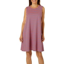 Brisas Womens Striped Keyhole Back Sleeveless Dress