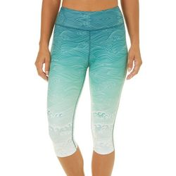 Brisas Womens Ombre Ocean Wave Capri Leggings