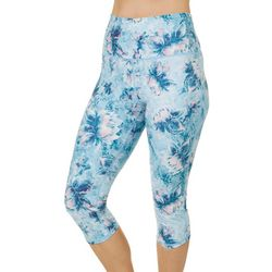 Brisas Womens Painterly Floral Capri Leggings