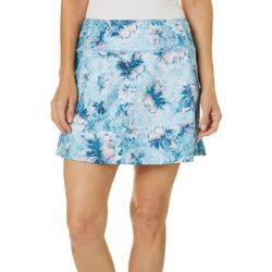 Brisas Womens Ruched Detail Painterly Floral Skort