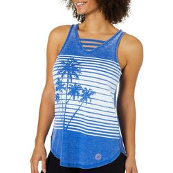 Brisas Womens Tropical Palm Tree & Stripe Tank Top