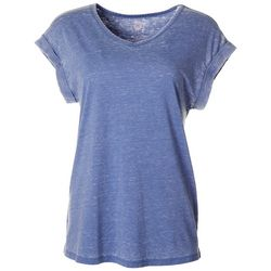 Brisas Womens Solid V-Neck Rolled Short Sleeve Top