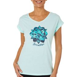 Brisas Womens Breathe Mandala Screen Print V-Neck Top