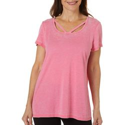 Brisas Womens Heathered Solid Short Sleeve Top