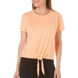 Brisas Womens Solid Tie Front T-Shirt