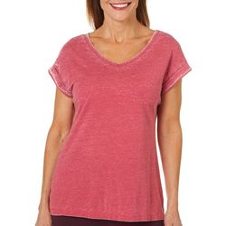 Brisas Womens Acid Wash V-Neck T-Shirt