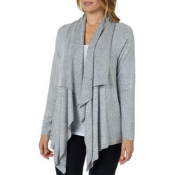 Cupio Womens Heathered Cozy Draped Cardigan