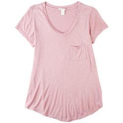 Juniors Solid Flowy Pocket Tshirt