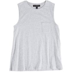 Juniors Solid Sleevless Top With Pocket