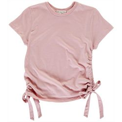 Juniors Solid Ruched Tee