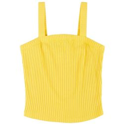 Juniors Solid Square Neck Sleeveless Top