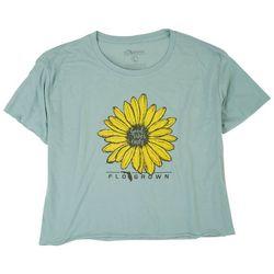 FloGrown Juniors Good Vibes Only Sunflower Crop Top